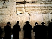 Israel, Jerusalem, praying jews in front of the Western Wall