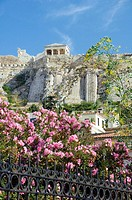 Views of the Acropolis and the Erechtheion from the Roman Forum in Athens, Greece.