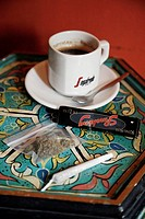 A joint and a cup of coffee at a Coffee shop, Amsterdam, Holland