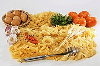 Various types of pasta and sauce ingredients