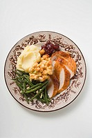 Turkey breast with green beans, bread stuffing & mashed potato