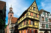 Half timbered traditionnal alsatian house,  Kaysersberg, Haut-Rhin, Alsace, France