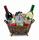 Wine bottles in metal basket