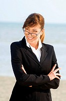 businesswoman, beach