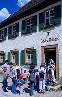 Children, at, School, and, Town, hall, open-air, museum, Neuhausen, ob, Eck, Schwabische, Alb, Baden-Wurttemberg, Germany, Schwäbische, Alb,