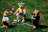 Teddy, bears, playing, football, footballer, football, player, soccer, player, corner, flag, referee,