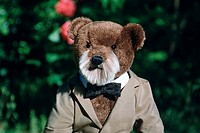 Teddy, bear, with, jacket, and, bow, tie,