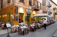 Pavement, cafe, Odos, Staikopoulou, Nafplion, Nauplia, Peloponnese, Greece