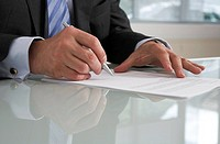 Businessman, detail, hands, document, pen, sign,