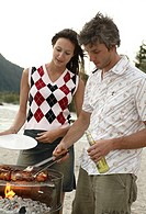 Couple, young, grill, detail, meat skewers, meat,