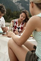 Man, women, young, picnic, blurred,