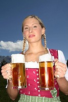 Woman, Dirndl, mountains, meadow, beer mugs,