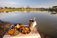 Snacks and Champagne Beside Waterhole  Kapama Private Reserve, Limpopo Province, South Africa