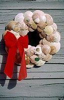 House Door with a Wreath Made of Shells  Martha's Vineyard, Massachusetts, United States of America