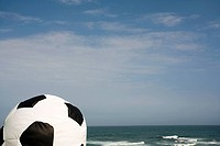 Still Life of a Soccer Ball Bean Bag with the Ocean as a Backdrop  North Coast, Kwa-Zulu Natal Province, South Africa