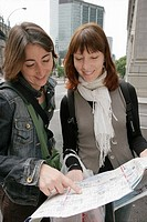 Canada, Montreal, Canada, Montreal, Boulevard Rene Levesque, smiling women, street map, planning,