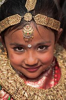 Nepal, Kathmandu, Durbar Square, Kumari living goddess festival