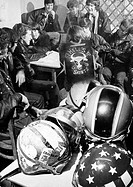 Hell's Saints, August 1970 The Oswestry Hell's Saints motorcycle gang with their leader, 18-year-old Peter Davies