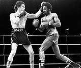 McGuigan and Pedroza, 8 June 1985 Irish boxer Barry McGuigan catches Panamanian Eusebio Pedroza with a left in the 6th round  McGuigan won