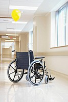 Wheelchair in a hospital corridor