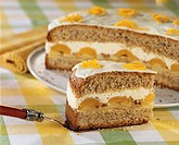 Hazelnut cake with apple, apricot and cream filling