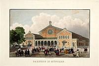 Ü Geo hist , Deutschland, Städte, München, Verkehr, Hauptbahnhof, erbaut 1847 - 1849 von Friedrich Bürklein, Außenansicht, coloriere Xylografie von Me...