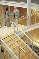 Businesspeople shaking hands on stairway