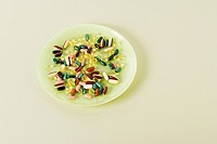 A plate with pills on it