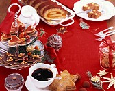 Assorted Christmas biscuits and cakes with coffee