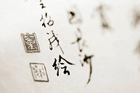 Close-up of asian calligraphy in ink on paper Sepia photograph