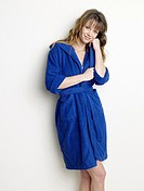 Woman in blue bathrobe