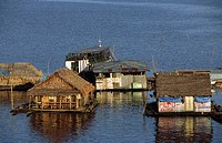Floating houses on the Amazon. Iquitos, Loreto, Peru