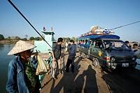 Laos, Asia, Don Khong Island, Mekong River, Champasak Province, Ferry, Boat, Ferryboat, Transport, Passengers