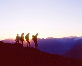 Switzerland, Europe, Parsenn, Graubunden, Canton Grisons, Graubunden, Hiking, Hiker, Hikers, Family, Group, Silhouette