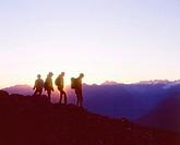 Switzerland, Europe, Parsenn, Graubunden, Canton Grisons, Graubunden, Hiking, Hiker, Hikers, Family, Group, Silhouette