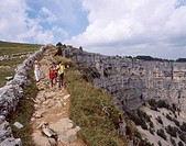 Switzerland, Europe, Creux Du Van, Canton Neuchatel, Jura Mountains, Group, Friends, Hikers, Hiking trail, Hiker, spor