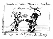 Caricature of Newton and Flamsteed  Cartoon of Isaac Newton and John Flamsteed depicted as saints  Newton is insulting Flamsteed by calling him a ´pup...