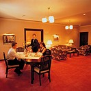 Lifestyle, Young couple, Hotel room, Private dining in room, Waiter service,