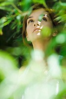 Young woman standing in thick foliage, looking up