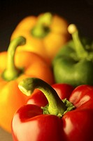 Four peppers arranged in a studio-shot still life composition