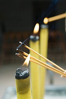 Lighting incense, close-up