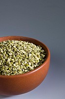 Close-up of Split Green grams in a bowl