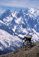 France, Chamonix Valley, Chamonix Alps, man on mountain bike, elevated