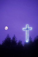 Hillside with illuminated cross, Gaspe Peninsula, Quebec, Canada