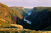 Hiker, back of Western Brook Pond, Gros Morne National Park, Newfoundland and Labrador, Canada
