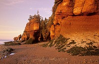 Hopewell Rocks Provincial Park with distinctive eroded rock formations, New Brunswick, Canada