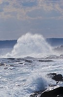 Waves breaking on rocks during storm at Peggy´s Cove, Nova Scotia, Canada