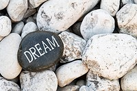 Inspirational dream rock on cobble stone, Ontario, Canada