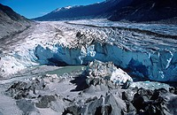 Coast Range, Klinaklini glacier blue ice at tongue Nimmo Bay heli ventures, British Columbia, Canada