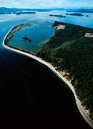 Sidney Spit Marine Park - lagoon - aerial view, Vancouver Island, British Columbia, Canada